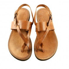 Sandale Perla Coniac, 38, 39, Maro, Piele naturala, Sandaleromane