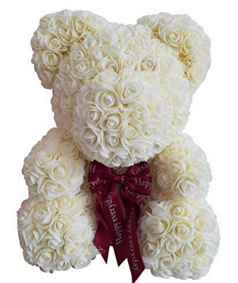 Ursulet floral Alb decorat manual cu trandafiri de spuma 25 cm ideal pentru cadou foto
