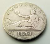 SPANIA - 2 Pesetas 1870 SN M - Argint - Guvernamant provizoriu - (2), Europa