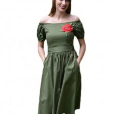 Rochie tinereasca, greenery, cu decolteu drept si maneca scurta