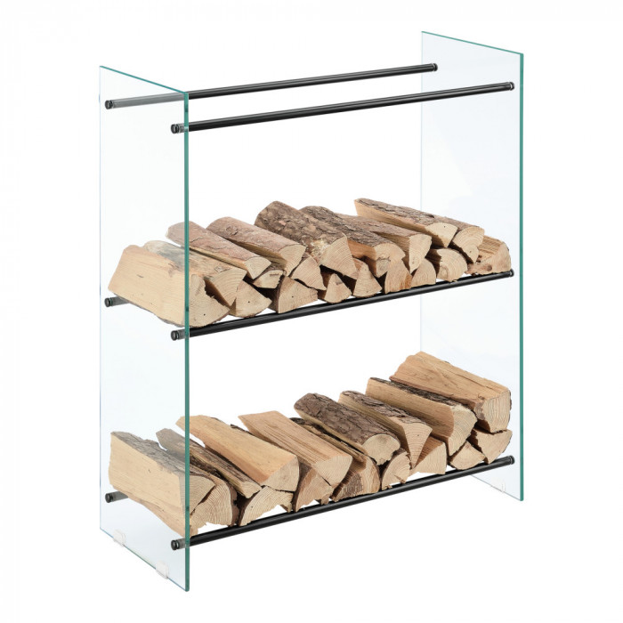 [en.casa]® Suport lemne foc Oshawa Glas, 80x100x35cm, otel/sticla securizata, transparent/negru HausGarden Leisure
