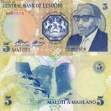 LESOTHO 5 maloti 1989 UNC!!!