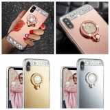 Husa Silicon oglinda cu pietricele si inel iPhone X , XS , XR , XS Max