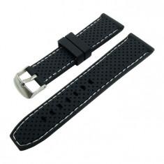 Curea ceas silicon negru cu puncte si cusatura alba 22mm WZ1027