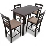 Set masă și 4 scaune de bar din lemn, alb