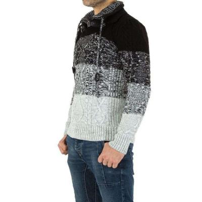 Pulover trendy, tricotat, cu guler dublu - Tarz foto