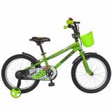 Cumpara ieftin Bicicleta Copii VELORS V1801A, Roti 18inch, cosulet, roti ajutatoare (Verde)