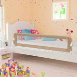 Balustradă protecție pat copii, gri taupe, 180x42 cm, poliester, vidaXL
