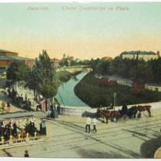 Bucuresti -  Cheiul Dambovitei cu piata,  tramvai cu cai, U.P.U., necirculata