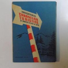INDICATORUL CABANELOR TURISTICE , HARTA FIZICA A R.P.R. , 1958