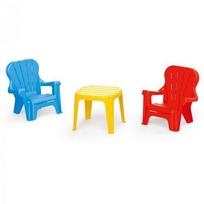 Set de masa Dolu cu 2 scaune, multicolor foto