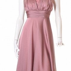 Rochie superba gen MARILYN MONROE roz poudree voal,bust paiete corset, DIAFANA