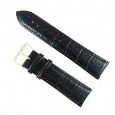 Curea de ceas Maro-inchis din piele naturala cu imprimeu crocodil - 18mm, 20mm, 22mm - WZ3423