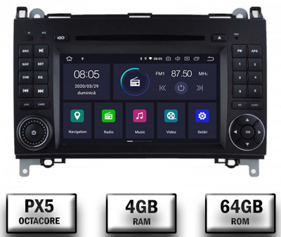 Navigatie Mercedes Benz VW A B-Class Vito Viano Sprinter Crafter, Android 10, Octacore PX5 4GB RAM + 64GB ROM cu DVD, 7 Inch - AD-BGWMBSPR7P5 foto