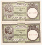 ROMANIA 2 X 20 LEI ND (1947,1948,1950) CONSECUTIVE XF+, AUNC FILIGRAN DIFERIT