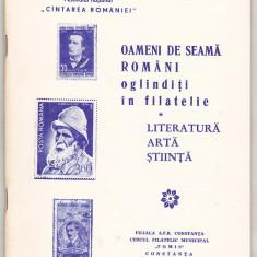 bnk fil - Catalog Oameni de seama romani oglinditi in filatelie Constanta 1977