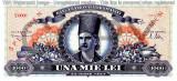 REPRODUCERE  bancnota specimen 1000 Lei 1947  Romania