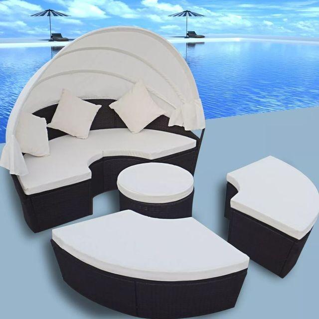 Set mobilier exterior din ratan 2 în 1, Negru