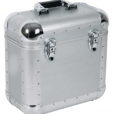 Flightcase din aluminiu pentru 40-50 LP-uri (discuri vinil), argintiu, Roadinger 30110026