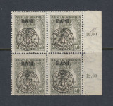 ROMANIA 1919 - EMISIUNEA CLUJ ORADEA  -  ZITA EROARE BANI SUS  BL 4 MNH, Nestampilat