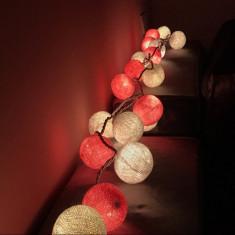 Instalatie de Craciun cu Baterii Tip Sir 1.5 m 10 LED -uri Glob Roz