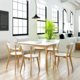Set masă și scaune de bucătărie, MDF și mesteacăn, 7 piese, vidaXL