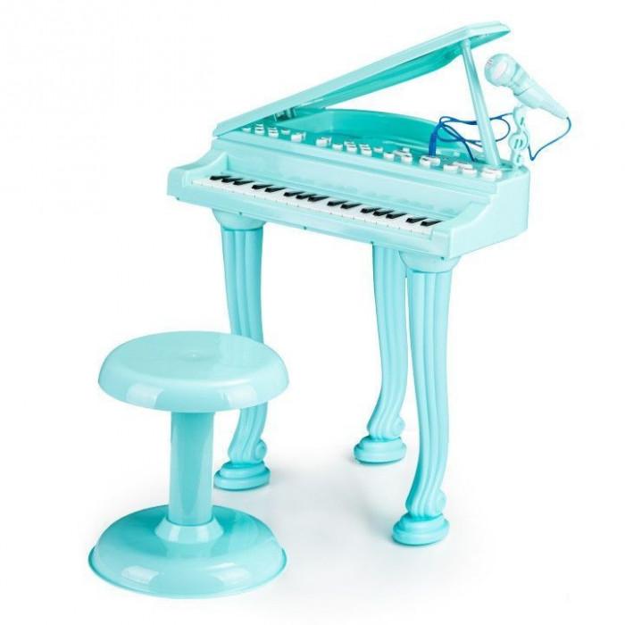 Set Pian de jucarie pentru copii, cu microfon de karaoke si scaun incluse, cablu Jack 3.5mm, turcoaz