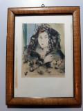TABLOU -PORTRET DE FEMEIE - ACUARELA - MINIATURA - SEMNAT MONOGRAM DREAPTA JOS, Portrete, Altul