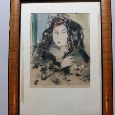 TABLOU -PORTRET DE FEMEIE - ACUARELA - MINIATURA - SEMNAT MONOGRAM STINGA JOS, Portrete, Altul