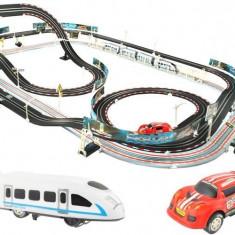 Set Joc Pista de Curse 2-in-1 cu Masini, Trenulet si Lumini LED