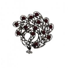 Brosa rafinata in nuante de turcoaz, argintiu, rosu, multicolor,marsala