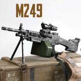 Cumpara ieftin NOU! SUPER PUSCA AIRSOFT SNIPER M249 CAMUFLAJ ELECTRICA,ACUMULATORI,KIT COMPLET!