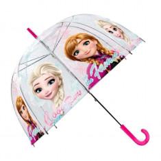 Umbrela transparenta manuala Anna si Elsa Frozen 70 cm