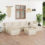 VidaXL Set mobilier grădină din paleți, 7 piese, lemn de molid tratat