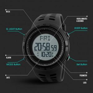 Ceas Barbatesc SKMEI CS1093, curea silicon, digital watch, Functii- alarma, ora, data, cadran luminat, rezistent 5ATM, negru