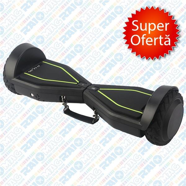 Hoverboard (scuter electric) Serioux, Autonomie 12km, Viteză 10km/h, Putere motoare 400W, Roți 6.5 inch, Negru