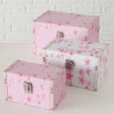 Cumpara ieftin Set 3 cutii pentru bijuterii din MDF Sakura Roz / Alb, L23xl16xH14 cm / L20xl13xH12 cm / L17xl10xH10 cm
