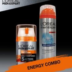 Set cadou Crema de zi L Oreal Paris Men Expert Hydraenergetic 50ml + Spuma de ras L Oreal Paris Men Expert Anti-iritatii 200 ml
