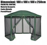 Pavilion Cort Hexagonal Pereti Plasa Anti Insecte Latura 180x180x180cm