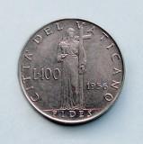 VATICAN  -  100 Lire 1956  -  Pivs XII