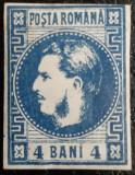 ROMANIA 1868 CAROL I , 4 bani ALBASTRU INCHIS , H.GROASA (carton). L.P 23b. MLH., Nestampilat