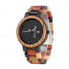 Ceas din lemn Bobo Bird multicolor cu curea din lemn, P14-1 Wooden Lux