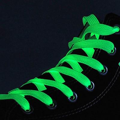 Sireturi fosforescente care lumineaza verde, lungime 100 cm, textil foto