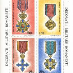 *România, LP 1366/1991, Decoraţii militare româneşti 1866-1945, bloc dant., MNH