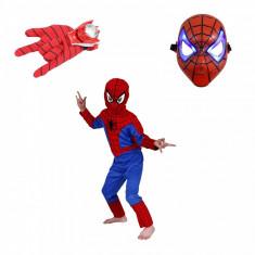 Set costum Spiderman marimea S masca LED si manusa cu lansator