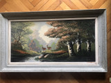 Tablou,pictura in ulei pe panza,peisaj in padure,semnat