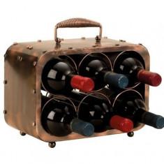 Suport pentru Sticla Vin model Valiza Metal Lucios Capacitate 6 Sticle H 23 cm Latime 30 cm
