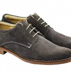Pantofi barbati casual eleganti din piele naturala gri ROVGRI