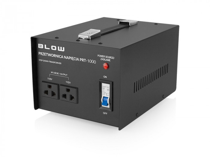 Transformator Convertor Tensiune 220V la 110V Blow PRT-1000W cu Comutator, Putere 1000W