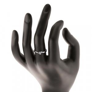 Inel din aur alb 14K - extremități ondulate, zirconiu rotund transparent - Marime inel: 53